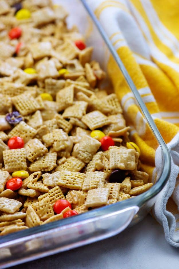 cereal bars in glass baking dish