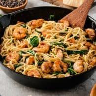 shrimp pasta in cast iron skillet