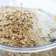 oats and flour in mixing bowl