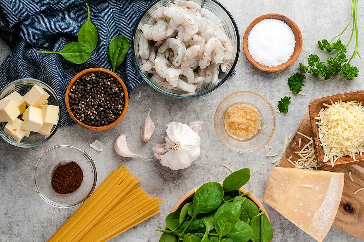 ingredients for easy shrimp pasta recipe