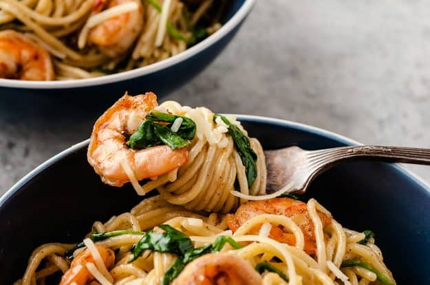 parmesan shrimp pasta recipe with pasta on fork