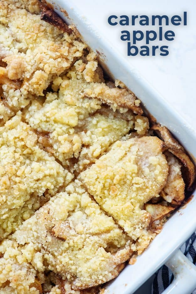 easy apple bars in white dish