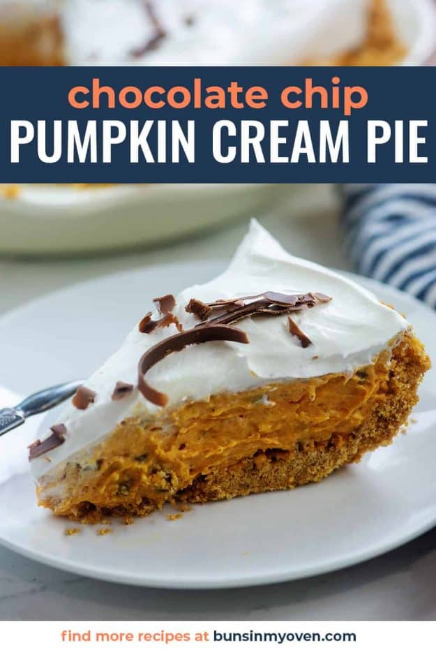 chocolate chip pumpkin cream pie with cool whip on white plate