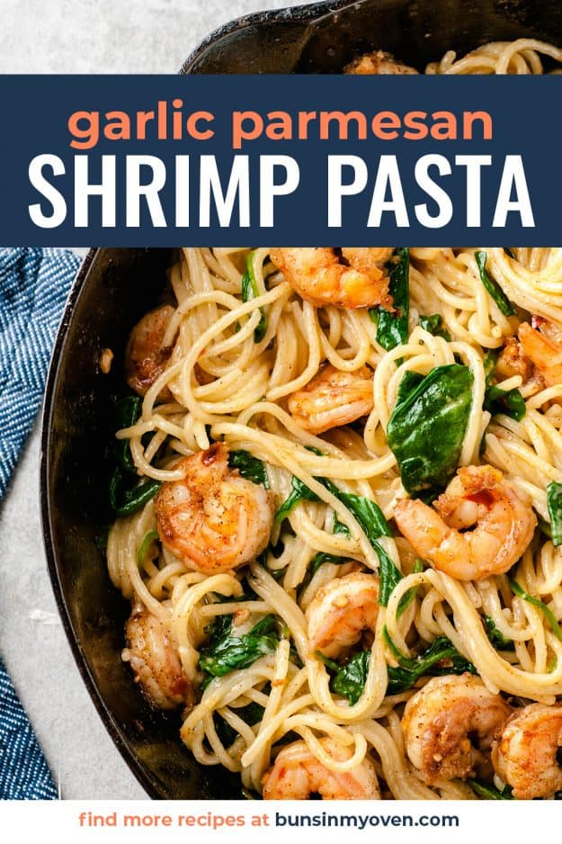 garlic shrimp in cast iron skillet with pasta