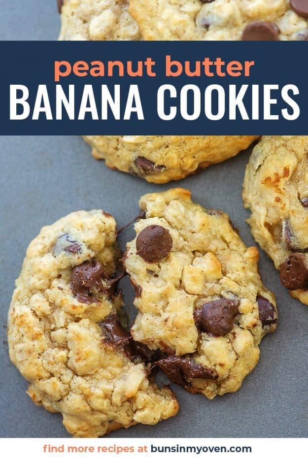 peanut butter banana cookies on a baking sheet