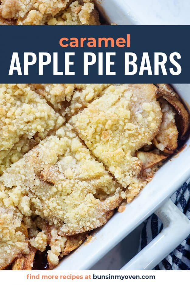 apple pie bars in white dish with blue striped napkin