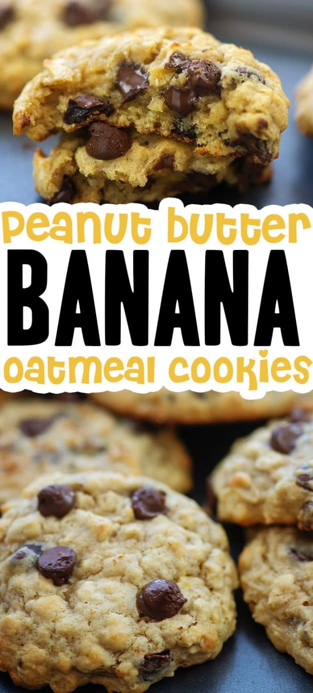 collage of banana cookie photos