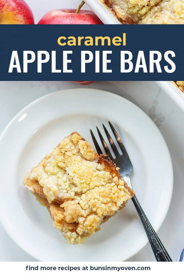caramel apple pie bar on white plate with vintage fork
