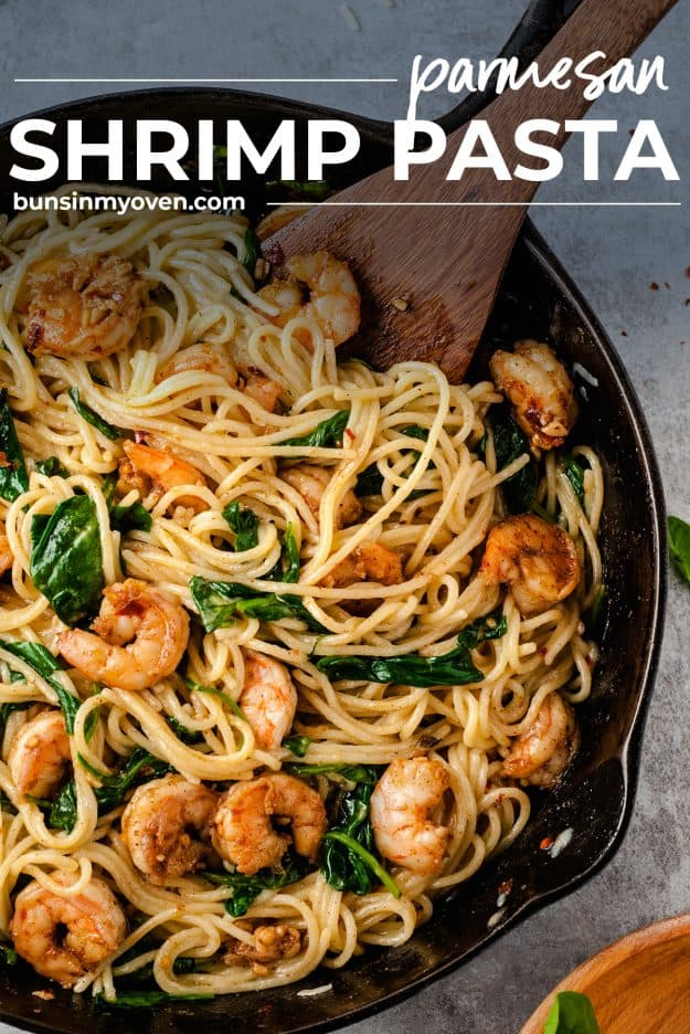 parmesan shrimp pasta in cast iron skillet