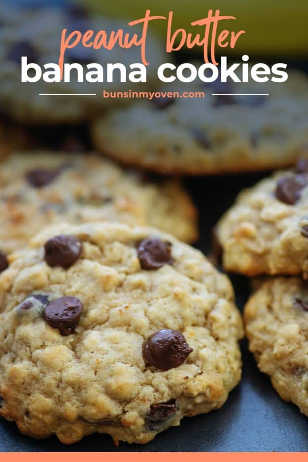 banana cookies with chocolate chips on cookie sheet