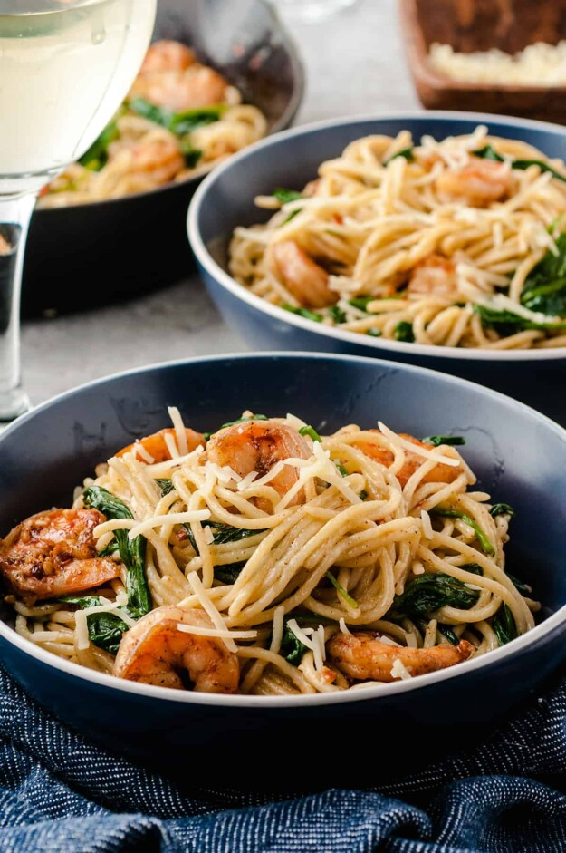 easy pasta recipe with shrimp, parmesan, and garlic
