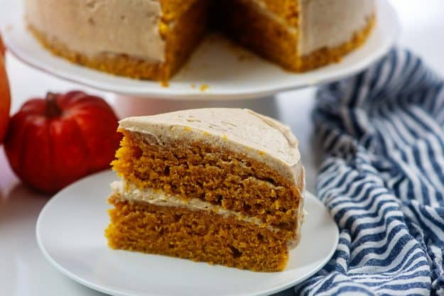 pumpkin cake on white plate.