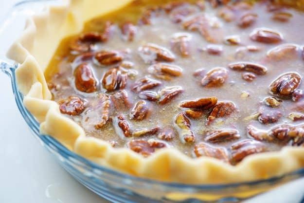 pecan pie filling in pie crust