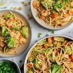 shrimp lo mein in bowls.