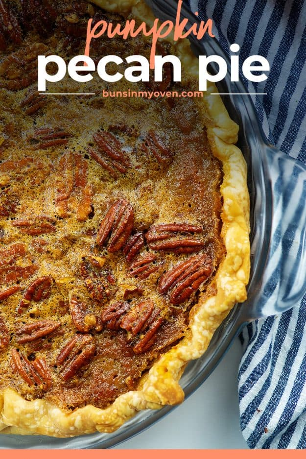 pie plate with pecan pie