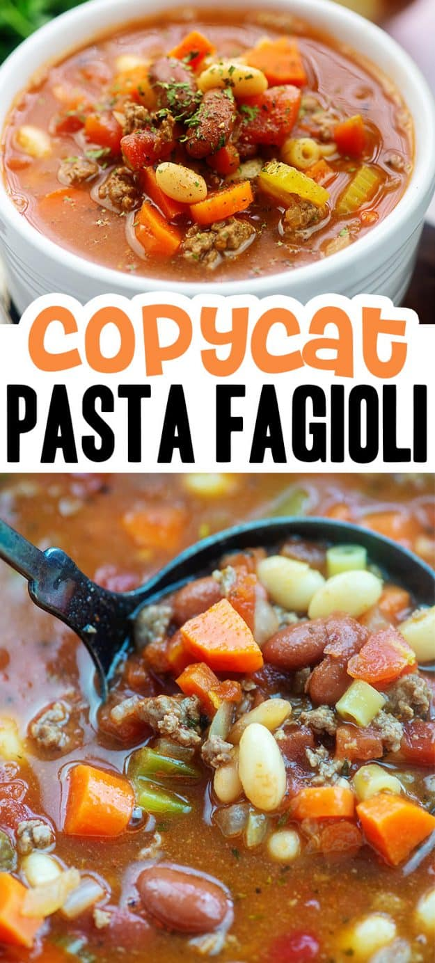 Photo collage of pasta fagioli soup.