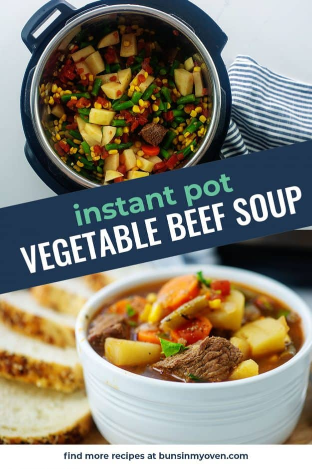 collage of vegetable beef soup images.