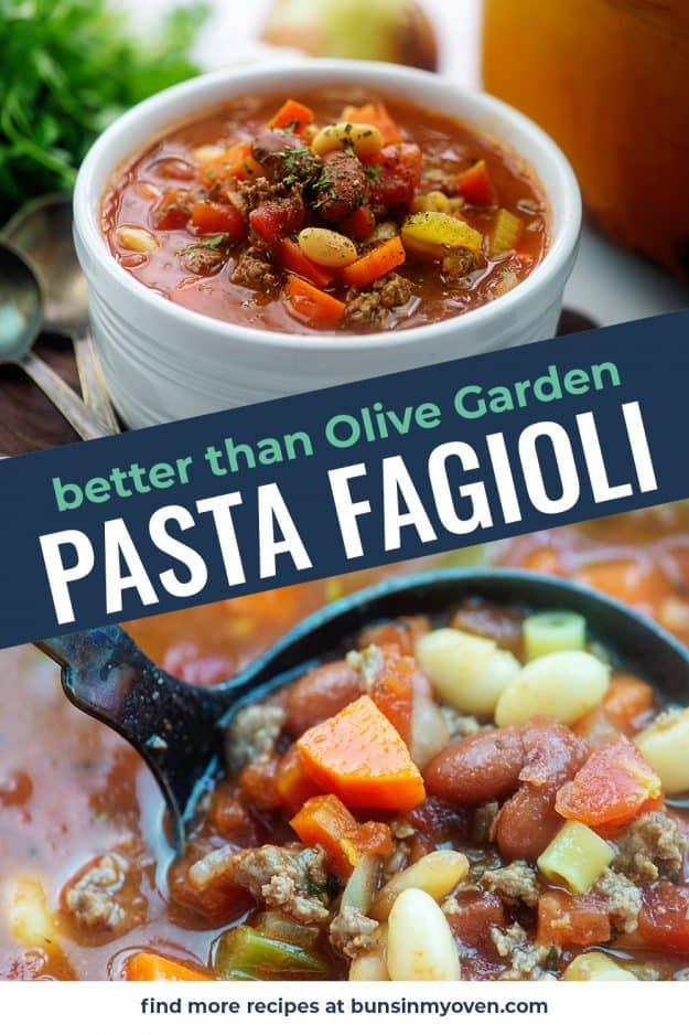 Photo collage of pasta fagioli.