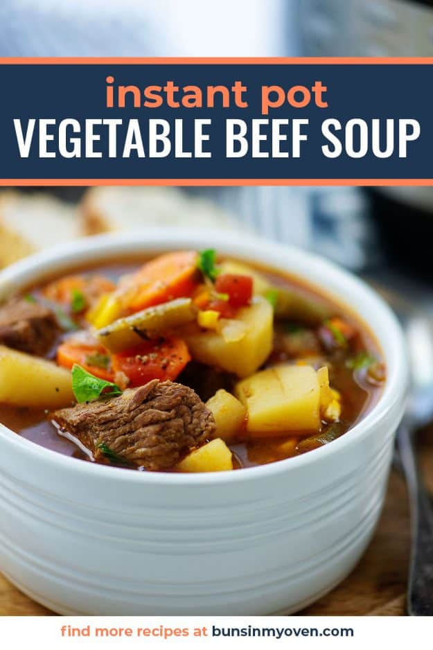 vegetable beef soup in white bowl.