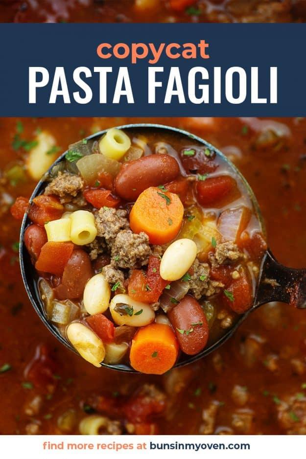 olive garden pasta fagioli recipe in ladle.