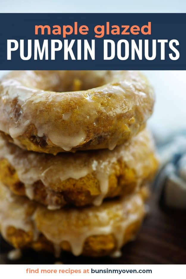 maple glazed pumpkin donuts stacked up