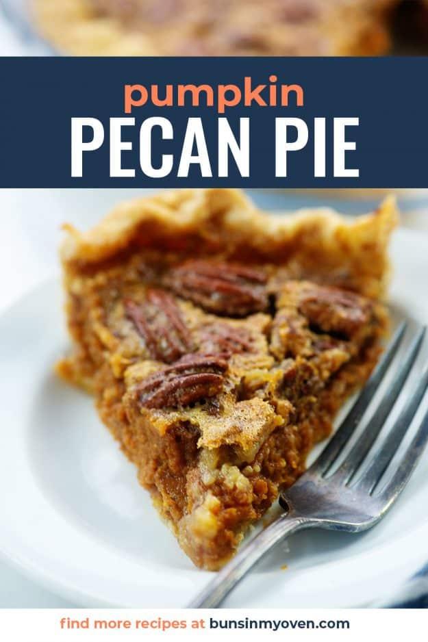slice of pumpkin pecan pie on white plate