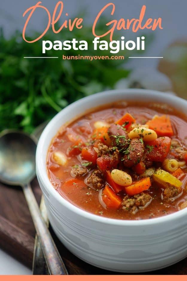 Olive Garden pasta fagioli soup in white bowl.