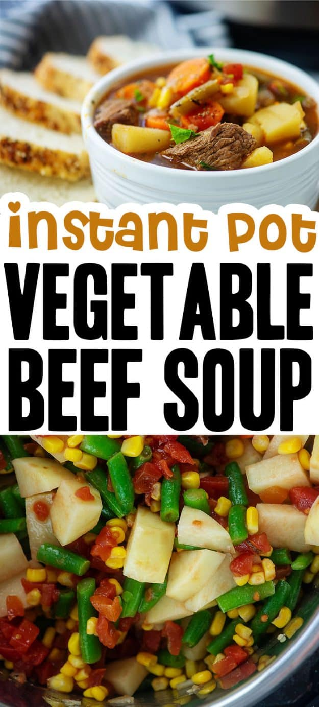 vegetable beef soup photo collage.
