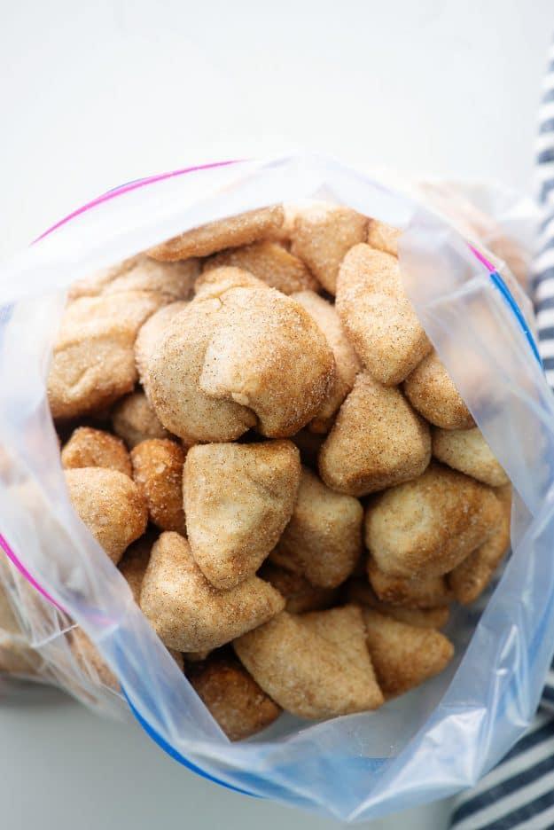 ziptop bag full of cinnamon sugar biscuit pieces.