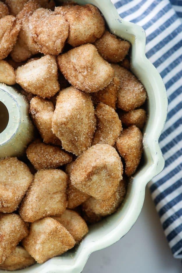 biscuit dough in bundt pan.