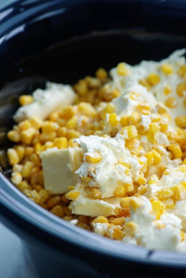 cream cheese corn ingredients in crock pot.