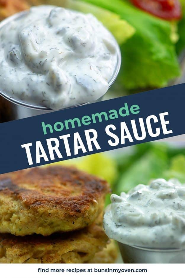 collage of tartar sauce photos.
