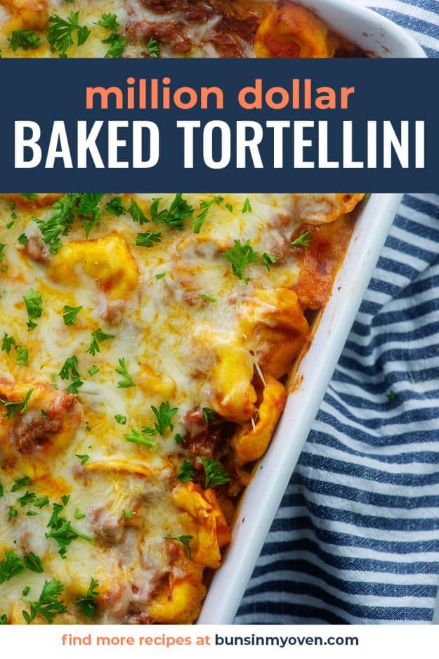 baked tortellini recipe in white baking dish.