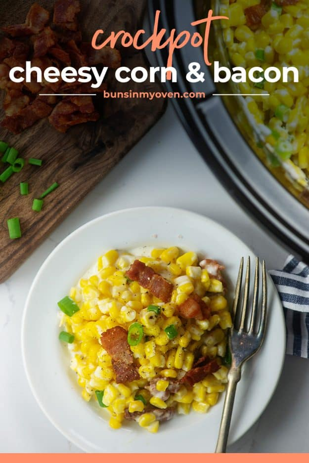 cheesy corn and bacon on white plate.