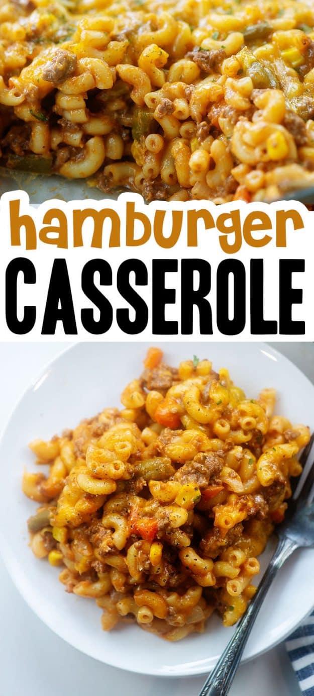 hamburger casserole photo collage.