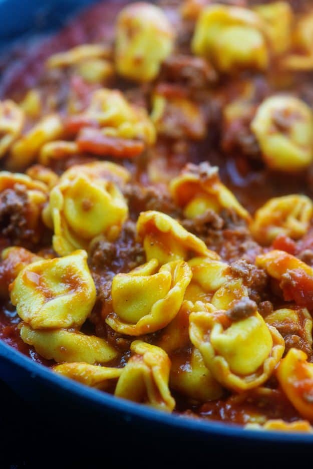beef and cheese tortellini in marinara sauce.