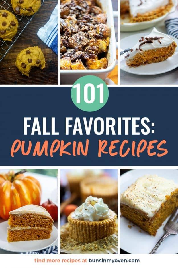 Collage of pumpkin recipe photos.