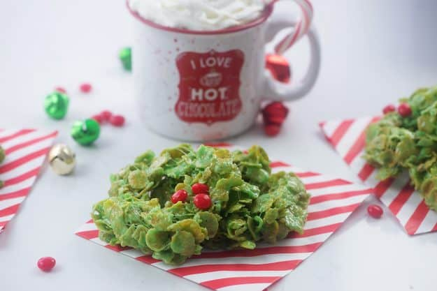 cornflake wreaths on red and white paper.
