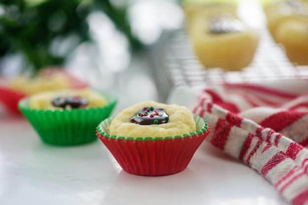 hot fudge thumbprint cookies in cupcake liners.