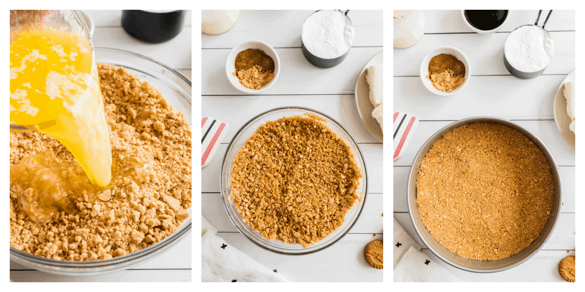 collage of photos showing how to make graham cracker crust.