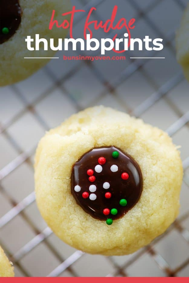 hot fudge thumbprint cookie on wire rack.