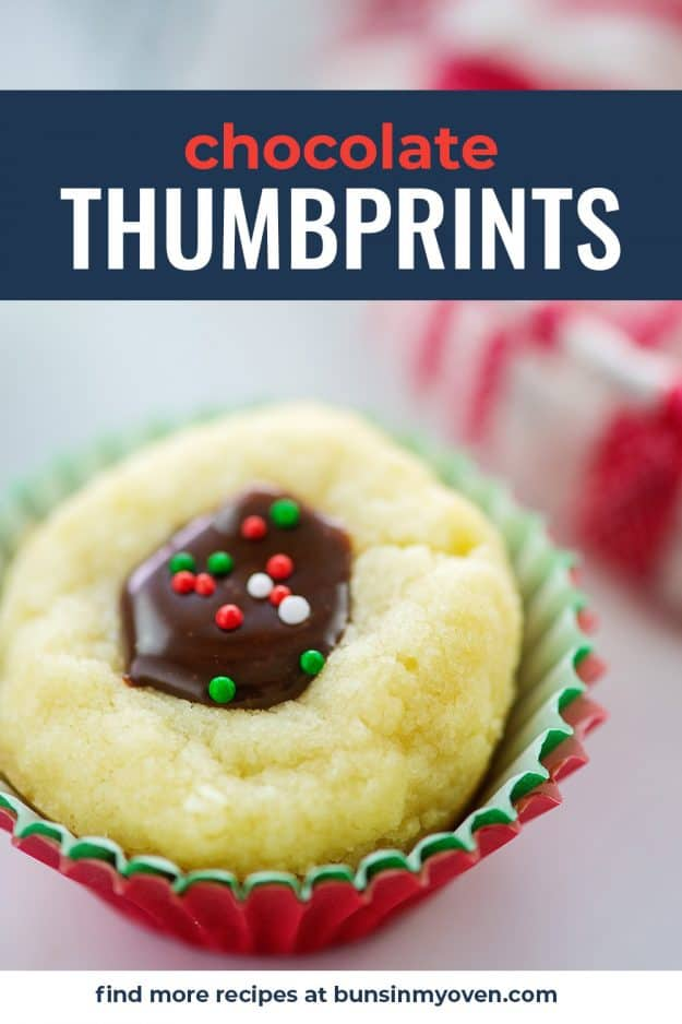 close up of chocolate thumbprint cookie in muffin papers.