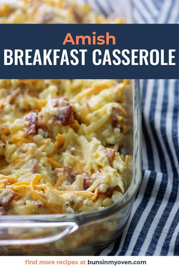 breakfast casserole in glass baking dish.