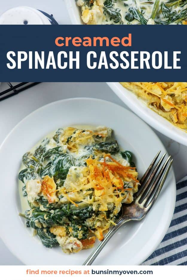overhead view of spinach casserole on white plate.