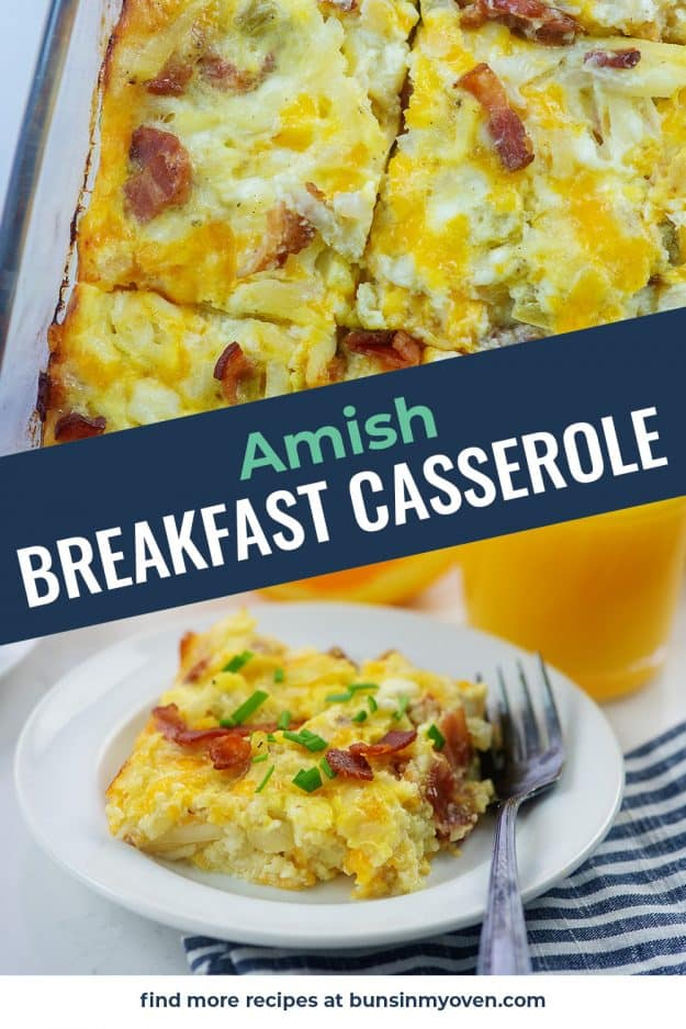 collage of Amish breakfast casserole images.