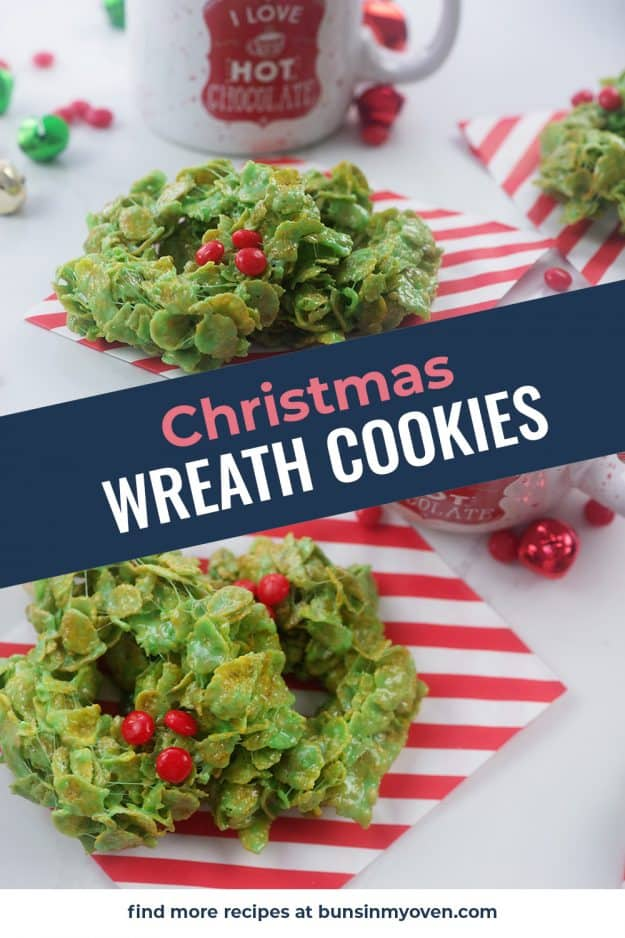 Christmas wreath cookies photo collage.