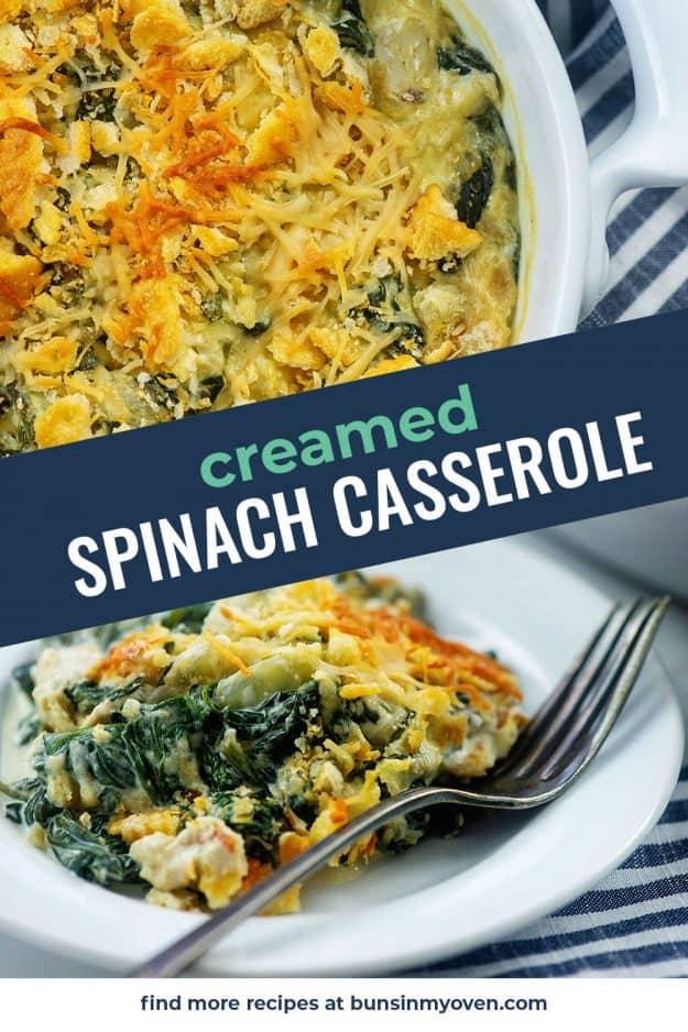 creamd spinach photo collage.