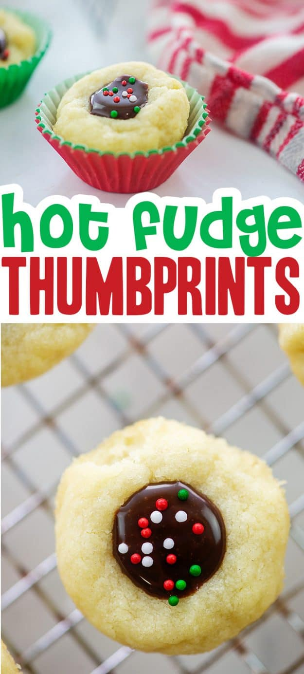 hot fudge thumbprint cookies collage.