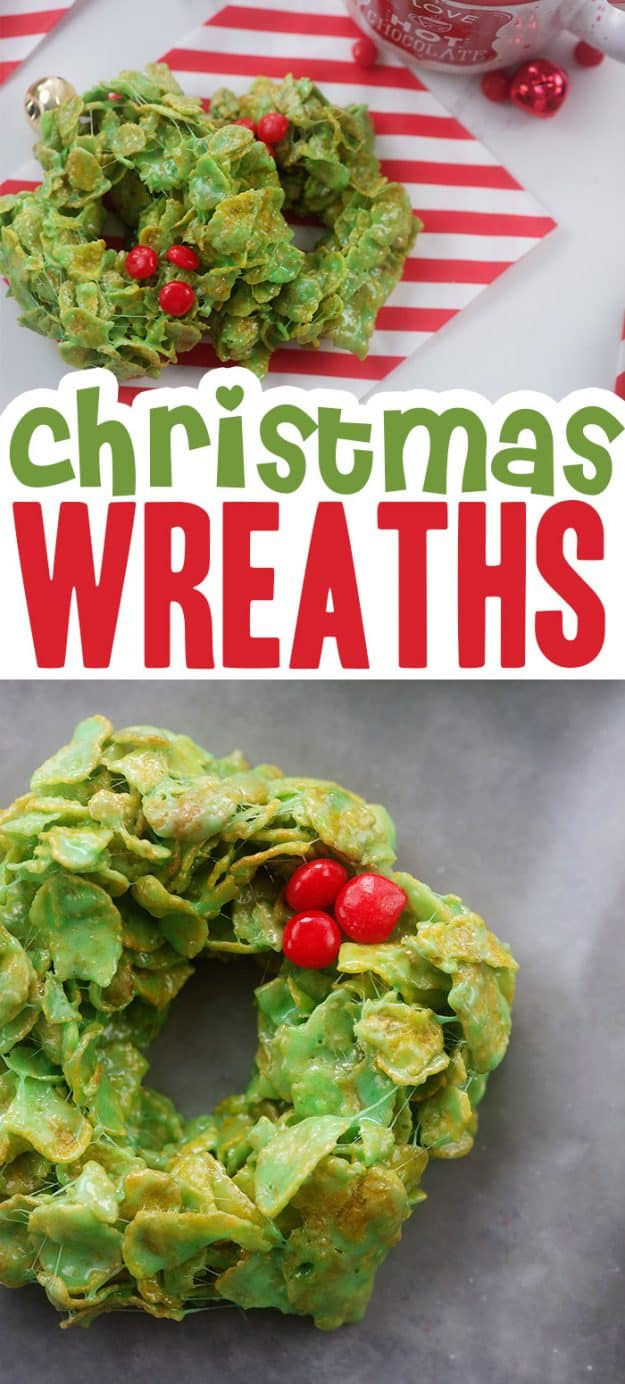 no bake Christmas wreaths collage.