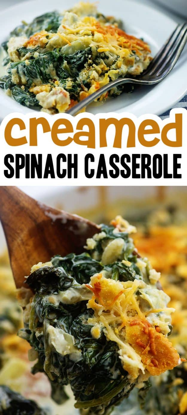 photo collage of spinach recipe.